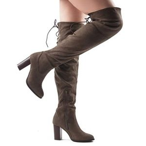 🍁 Brown Over The Knee High Heel Boots